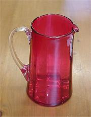 Cranberry clear glass jug