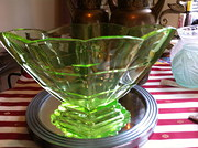Art Deco Hexagonal Green Dish