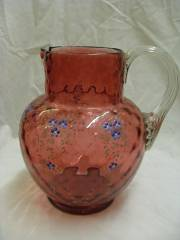 PAINTED CRANBERRY GLASS JUG