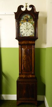 Mahogany Painted Face 8 Day Grandfather Clock