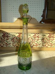 Heavy Bohemian Green Cut Glass