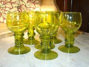Set of Six Green Roemer Glasse