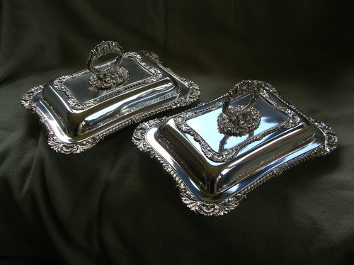 Victorian silver plated entree dishes