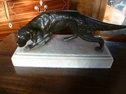 Antique Spelter Dog Figure