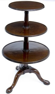 18th Century mahogony three tier dumb waiter.