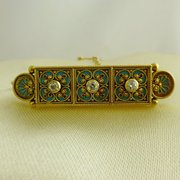 18ct Diamond And Enamel Brooch
